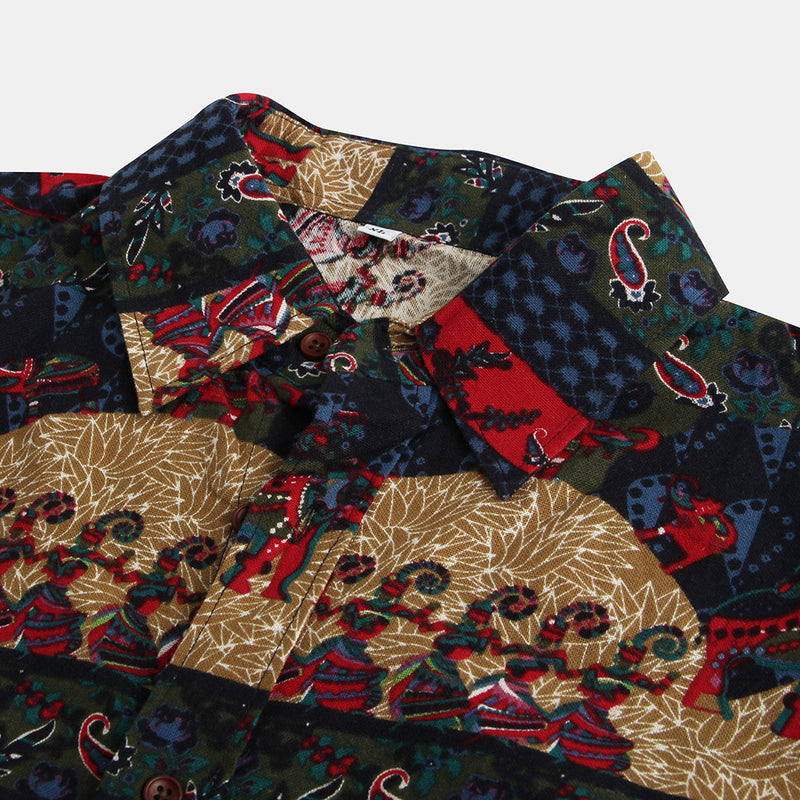 Men Ethnic Style Printing Long Sleeve Casual Shirts