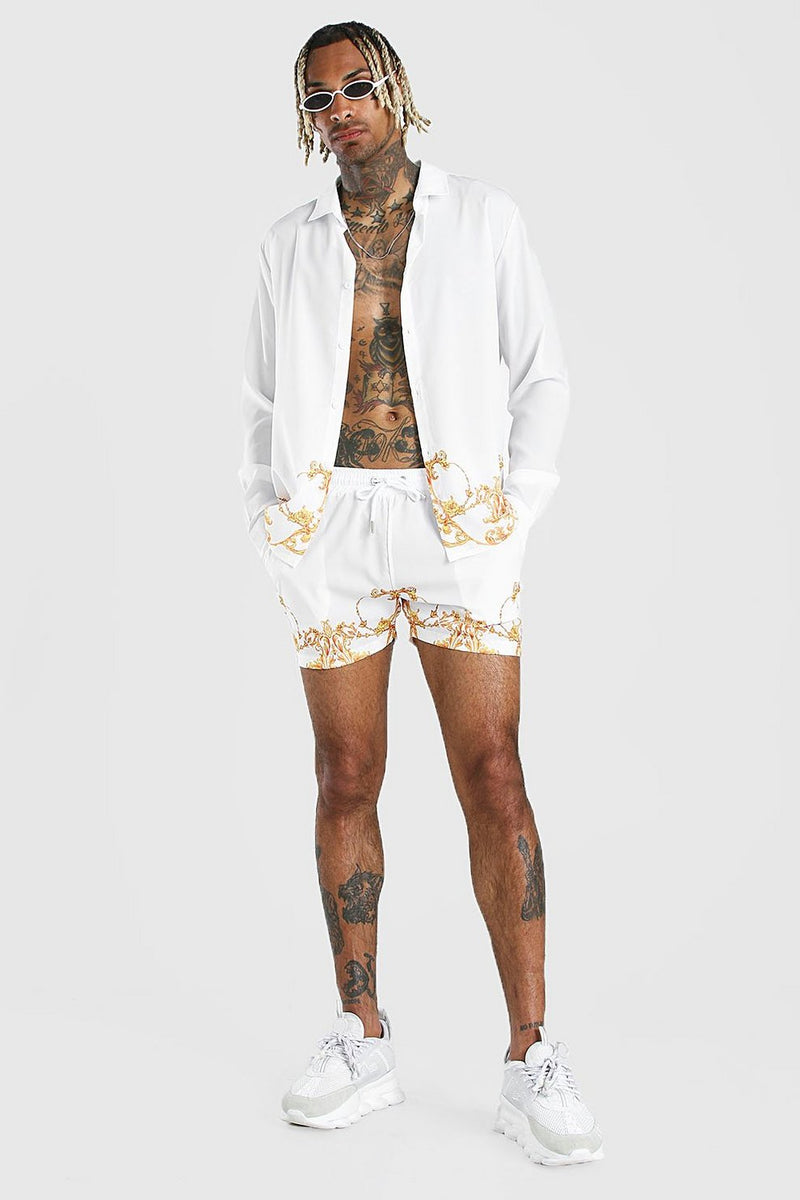 Men Printed Casual Two-Piece Suit