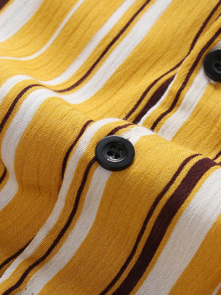 Men Multi Color Striped Brief Loose Short Sleeve Shirts