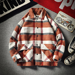 Men Color Block Loose Woolen Jacket