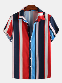 Mens Short Sleeves Color-Block Striped Blouses&Shirts