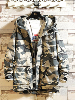 Men's Camouflage Hooded Loose Jacket