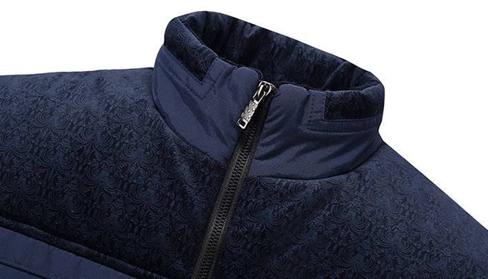 Men Plus Fleece Stand Collar Casual Coat