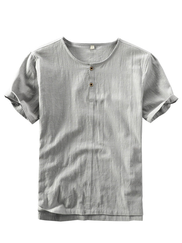 Men Chinese Style Loose Solid Color Short Sleeves