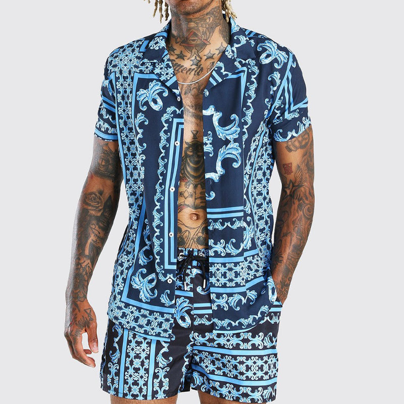 Men Printed Casual Short-Sleeved Shirt