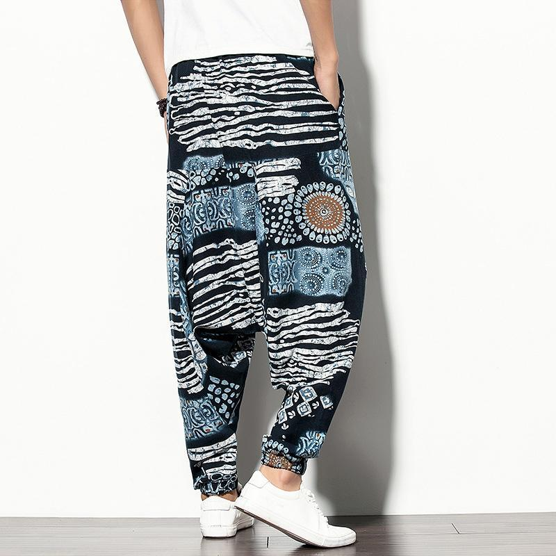 Men Soft Geometric Loose Tapered Pants
