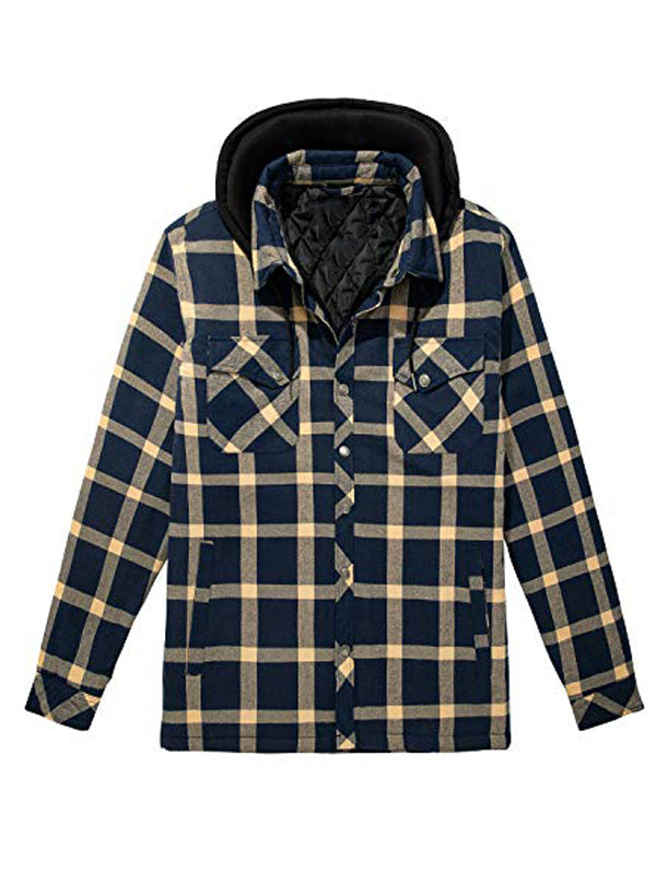 Men Plaid Printed Casual Hooded Jacket
