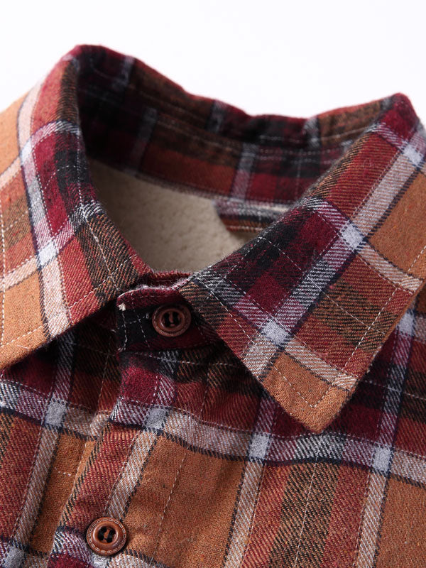Men Casual Long Sleeves Fashion Plaid Retro Shirt