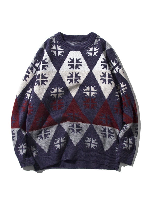 Men's Casual Round Neck Pullover Sweater
