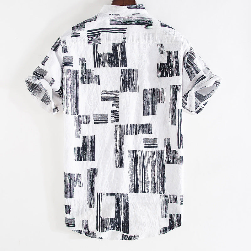 Men Stitching Loose Shirt Short Sleeve