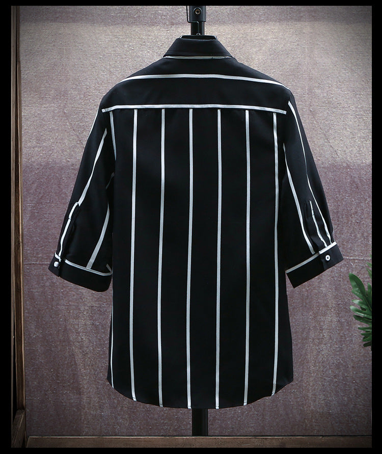 Men Vertical Striped Short Sleeve Shirt