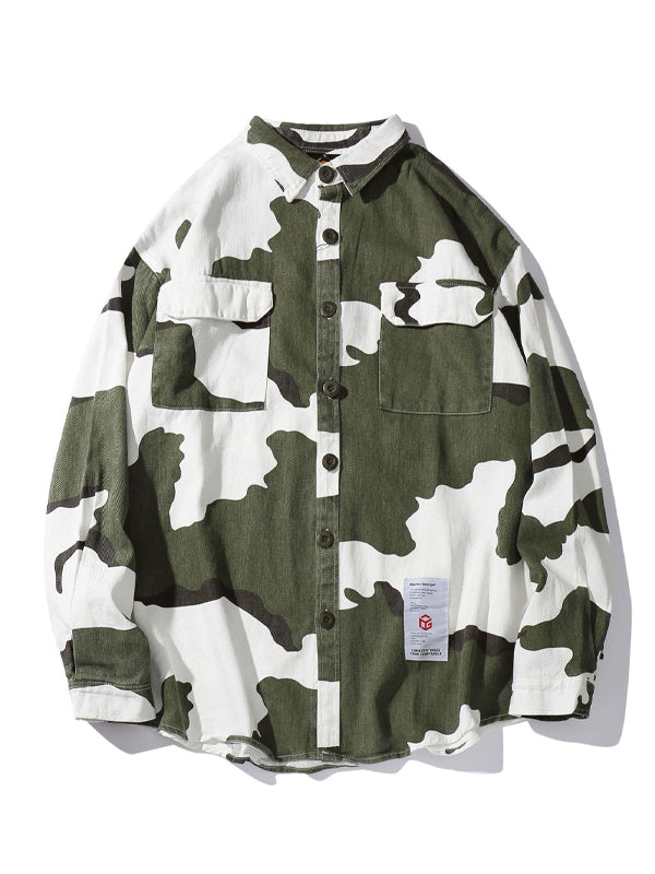 Men Lapel Camouflage Long Sleeves Shirt