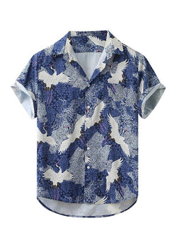 Men Lapel Printed Casual Shirt Short Sleeve
