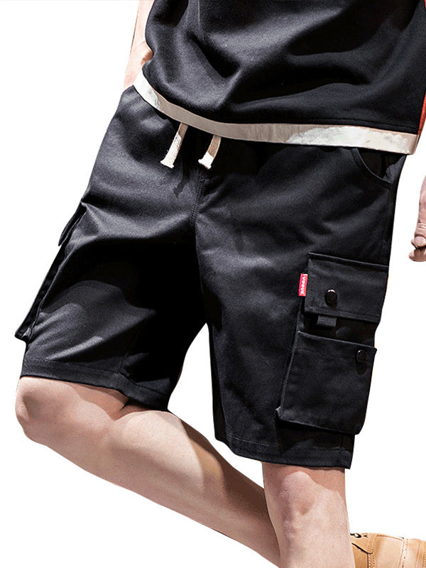 Mens Solid Casual Loose Sports Shorts