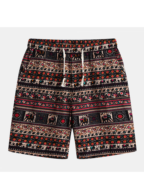 Men Printed Retro Printed Beach Shorts