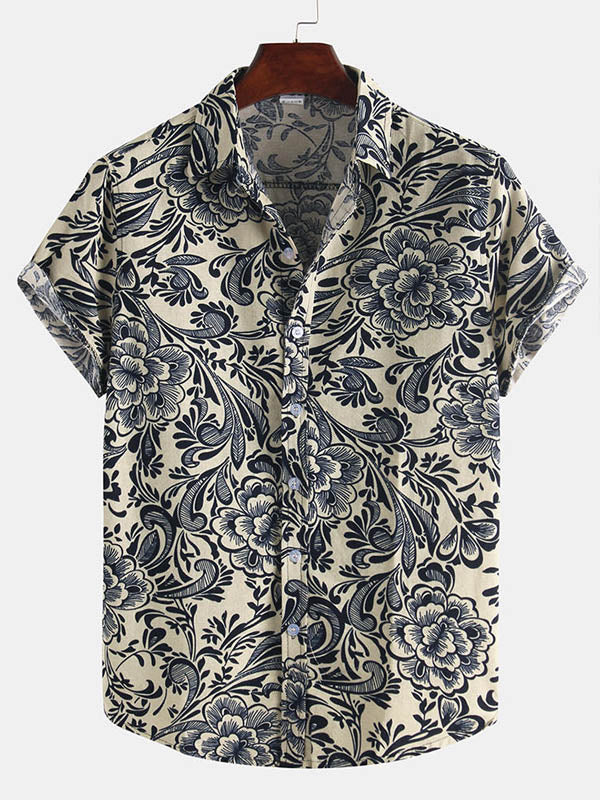 Men Printed Casual Short Sleeve Shirts