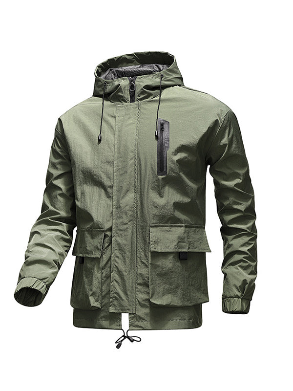 Men Solid Color Casual Hooded Jacket
