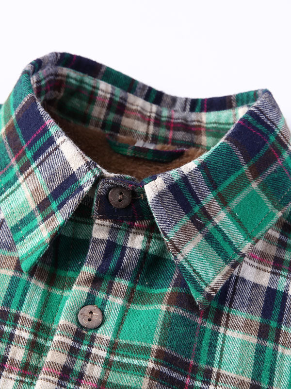 Winter Style Long Sleeves Lamb Cashmere Lined Plaid Retro Shirt