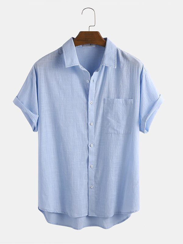 Men Breathable Casual Loose Short Sleeved Shirt