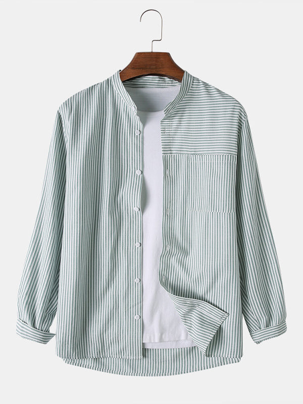 Men Plain Vertical Striped Round Neck Long Sleeve Shirts