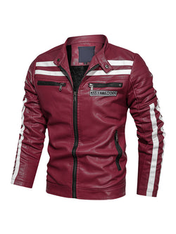 Men Color Block Stand Collar Casual Leather Jacket