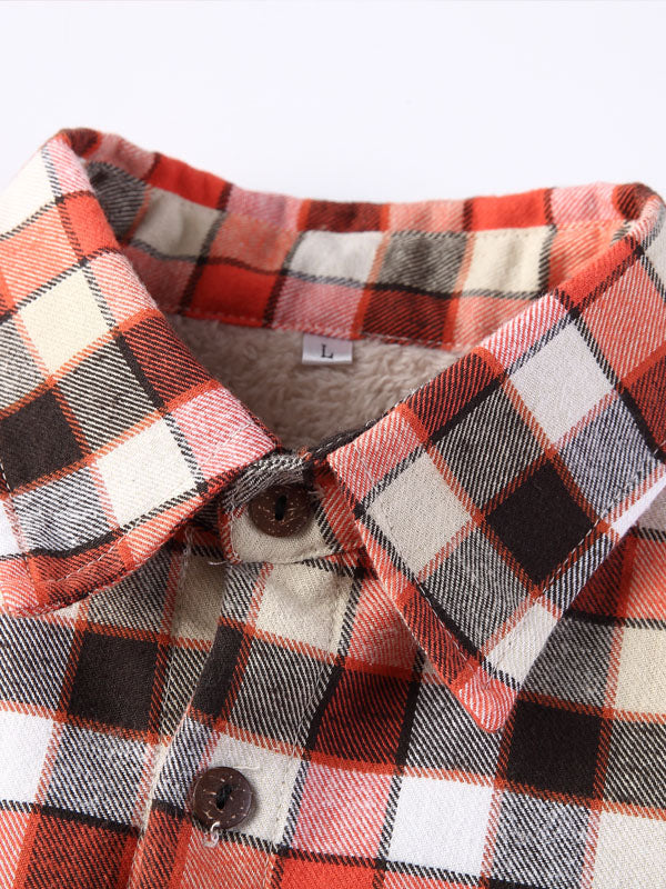 Men Long Sleeves Casual Lapel Lamb Cashmere Plaid Retro Shirt