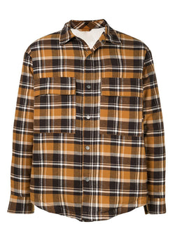 Men Winter Lapel Plaid Retro Shirt