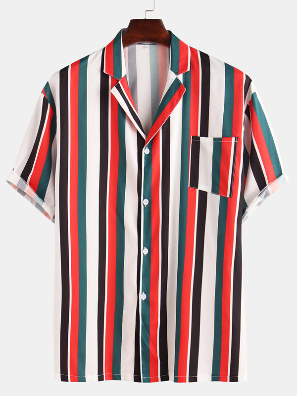 Men Casual Striped Printed Blouses&Shirts