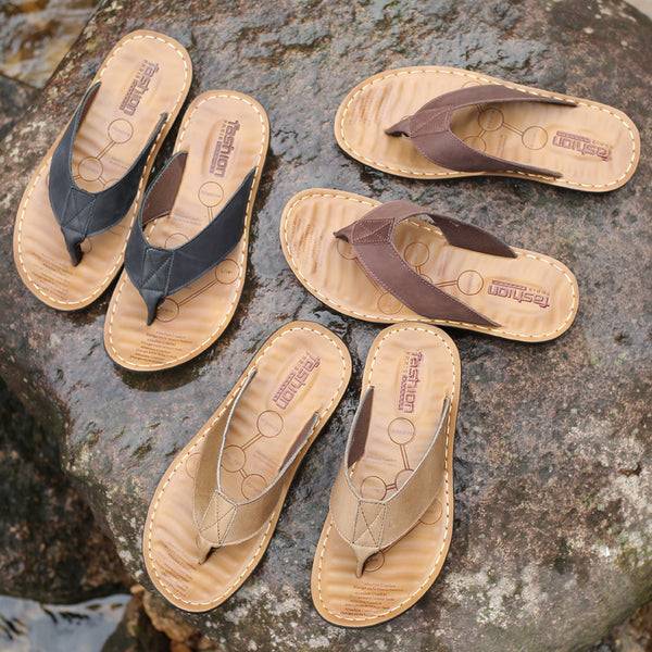 Men Thong Flip Flop Flat Cork Leather Cork Gizeh Sandals