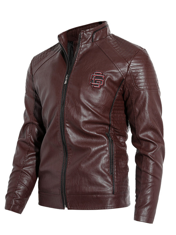 Men Leather Stand Collar Casual Jacket