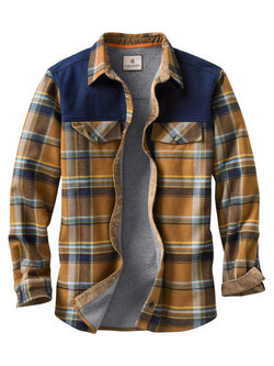 Men Color Block Plaid Casual Long Sleeve Shirt