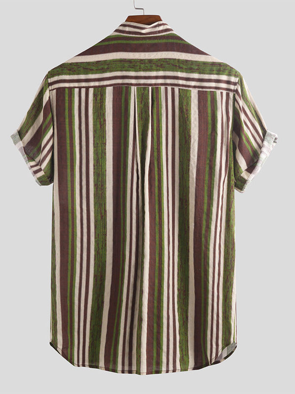 Mens Printed Striped Blouses&Shirts