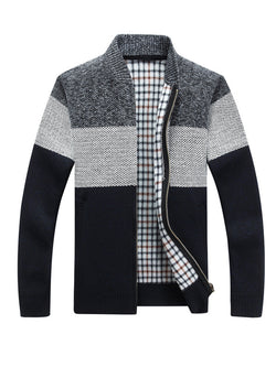 Men Color-Block V-Neck Zipper Coat