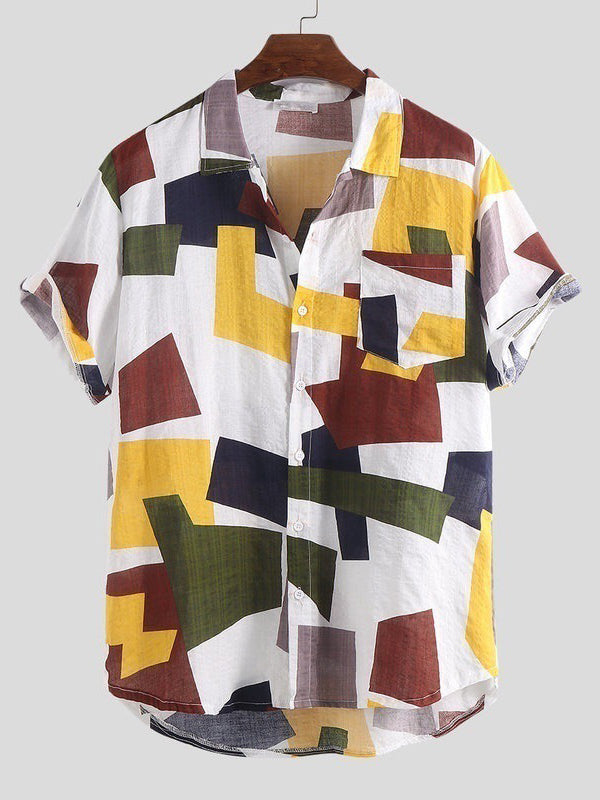 Casual Geometric Printed Short Sleeves Blouses&Shirts