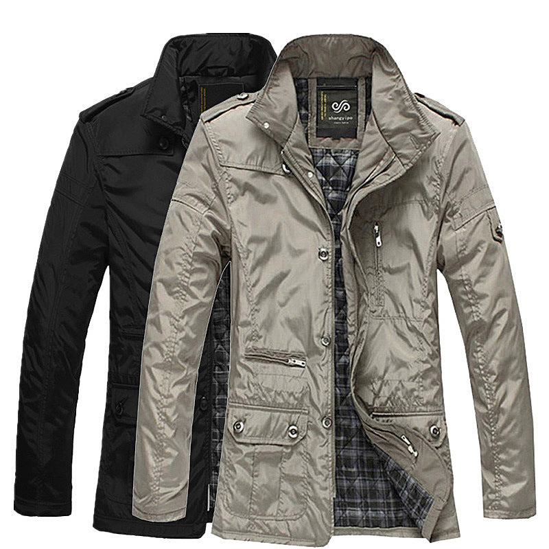 Men Solid Color Casual Stand Collar Jacket