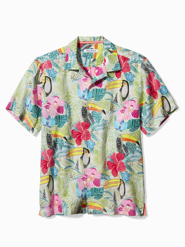 Men Hand-Painted Flower Printed Holiday Short Sleeve Shirt
