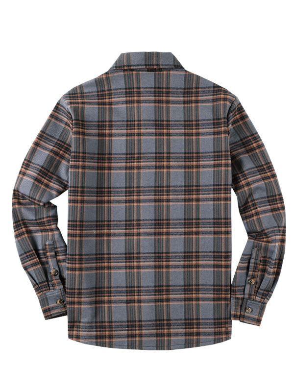 Lamb Cashmere Winter Long Sleeves Plaid Long Sleeves Retro Shirt