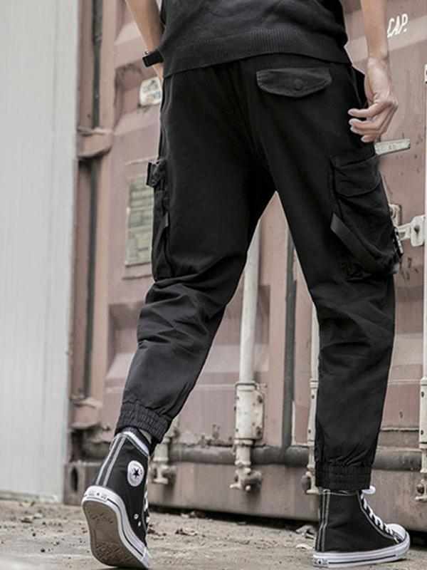Straight Leg Mens Solid Casual Pants