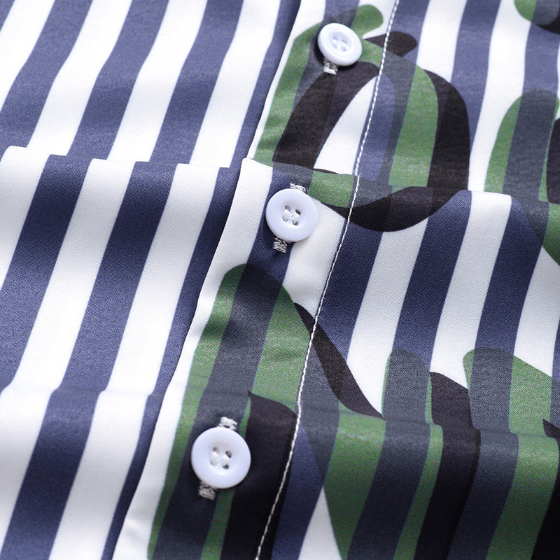Men's Casual Striped Text Printed Short Sleeve Shirt