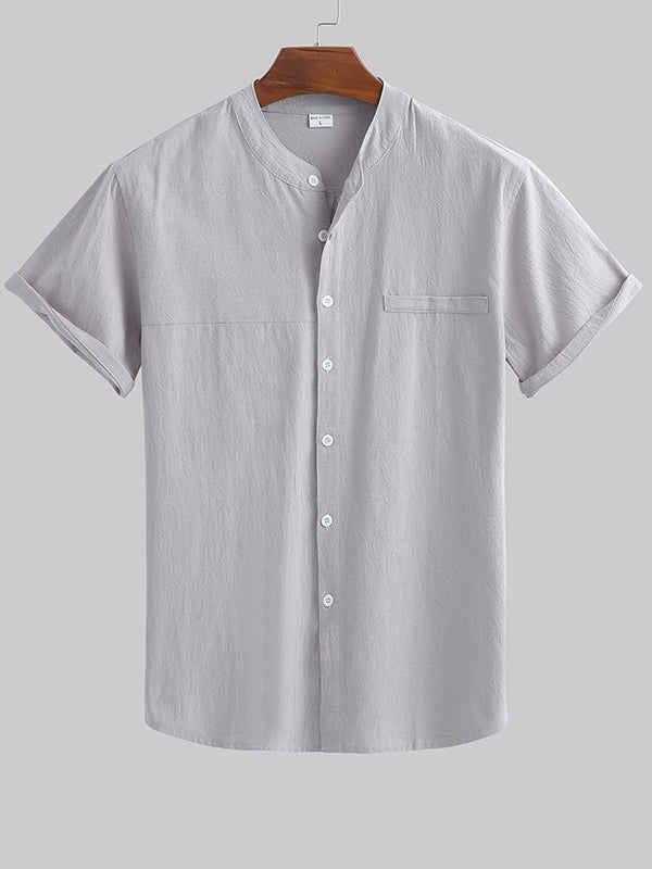 Men Thin Section Loose Casual Shirt Short Sleeve