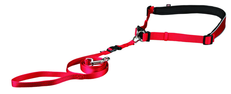 12765 Waist belt with leash, S-M, red