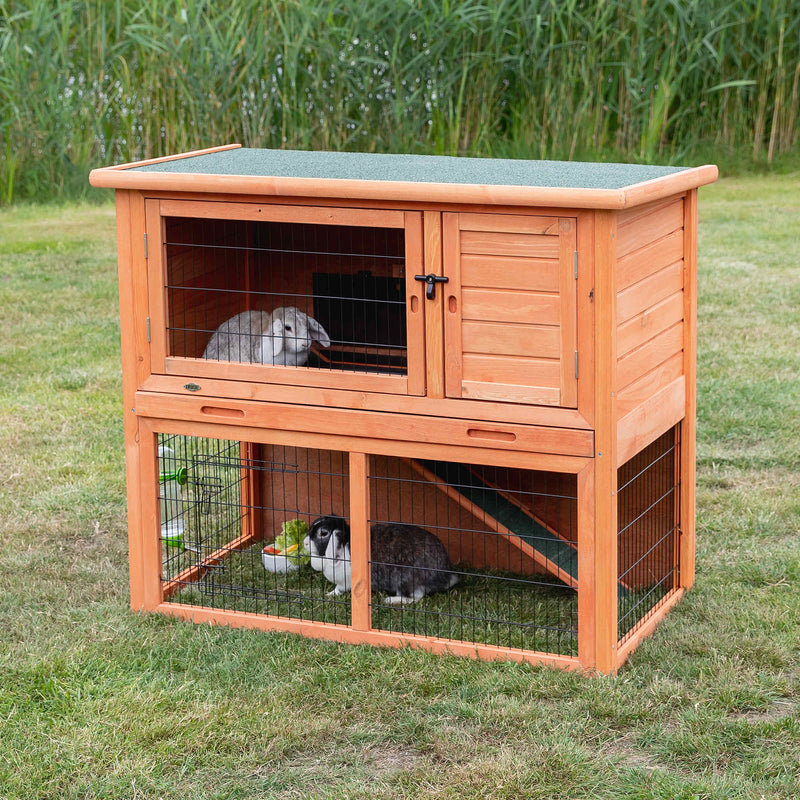 62302 natura small animal hutch with outdoor run, 116 x 97 x 63 cm, brown