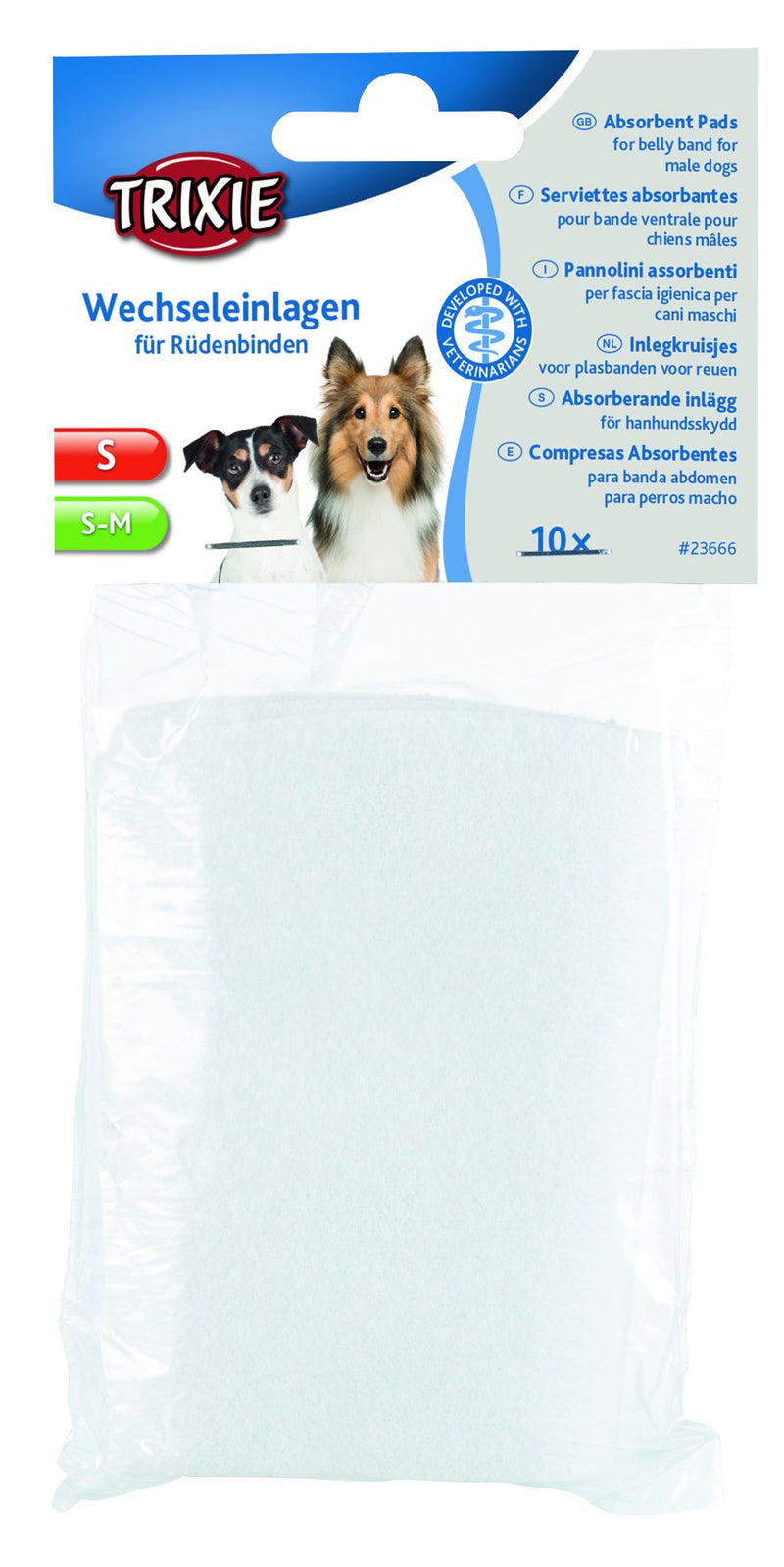 23666 Absorbent pads for belly band for male dogs, S, S-M, 10 pcs.