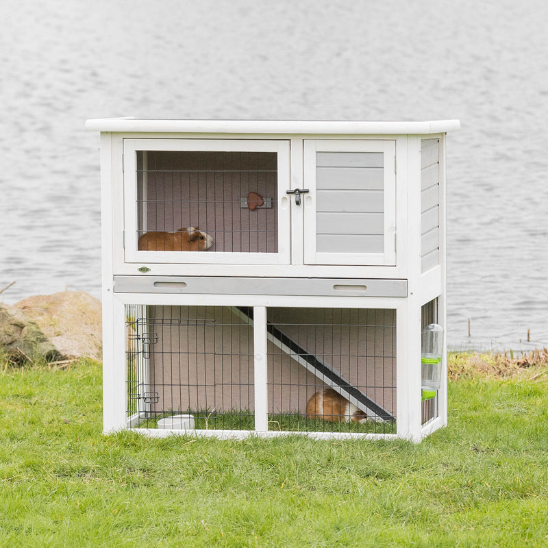 62305 natura small animal hutch with outdoor run, 104 x 97 x 52 cm, grey/white