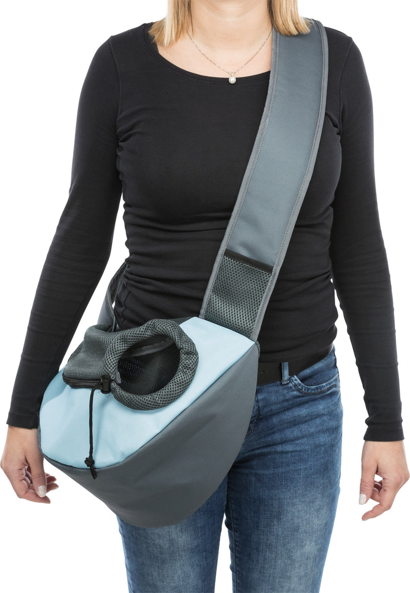 28883 Sling front bag, 50 x 25 x 18 cm, light grey/light blue