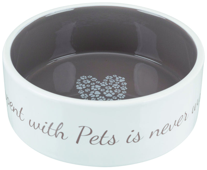 25054 Pet's Home Ceramic bowl, 0.8 l/diam. 16 cm, cream/taupe