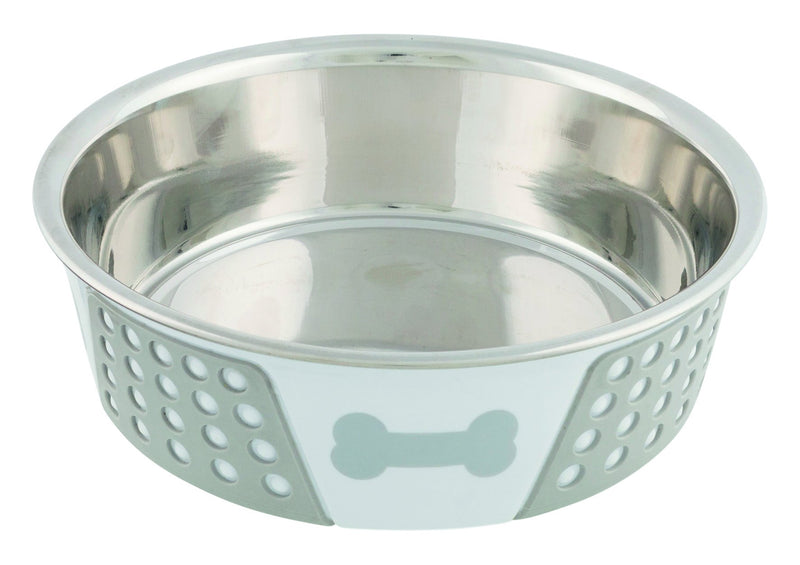 25257 Stainless steel bowl with silicone, 1.4 l/diam. 21 cm, white/grey