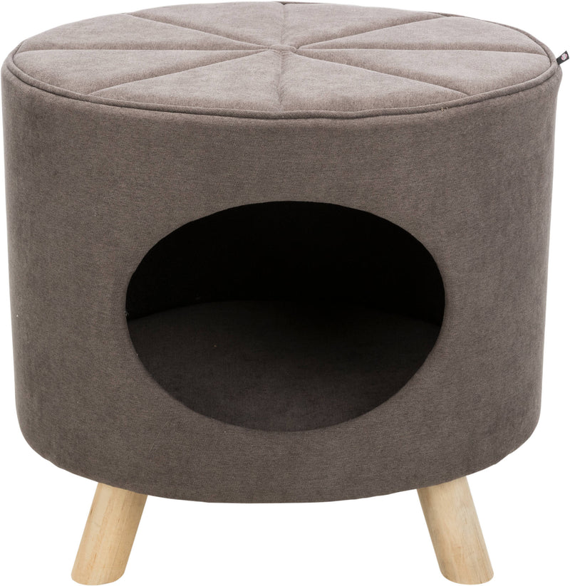 36297 Marcy cuddly cave with wooden feet, 50 × 47 × 38 cm, taupe