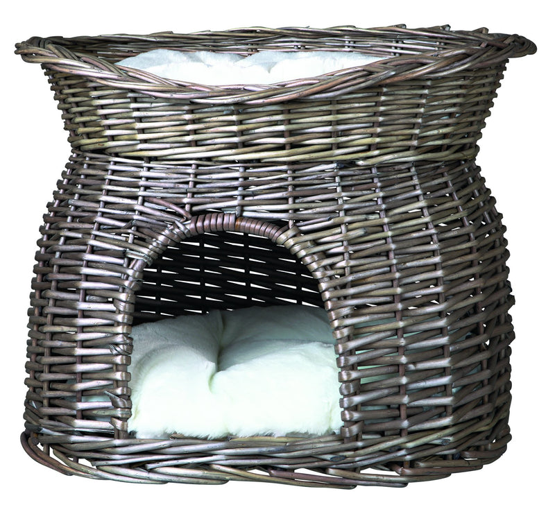 2873 Wicker cave with bed on top and 2 cushions, 54 x 43 x 37 cm, grey