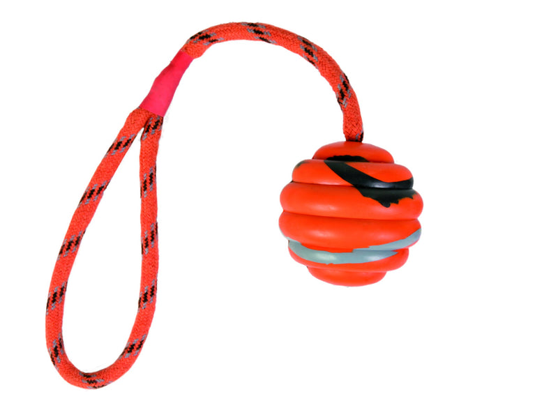 33724 Wavy ball on a rope, natural rubber, diam. 6 cm/30 cm